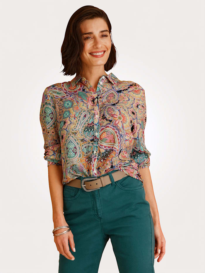 MONA Blouse with a paisley print, Turquoise/Pink/Blue