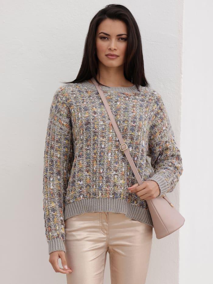 AMY VERMONT Pullover aus verschieden farbigen Garnen, Grau/Rosé/Blau