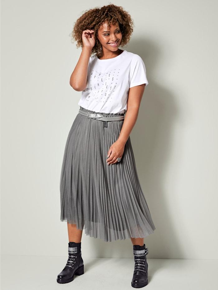 Angel of Style Shirt van zuiver katoen, Wit/Zwart