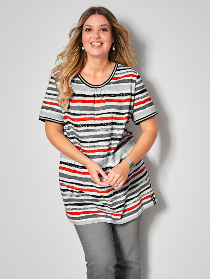 Janet & Joyce Shirt mit Glitzereffekt am Ausschnitt und an den Ärmeln, Weiß/Rot/Schwarz