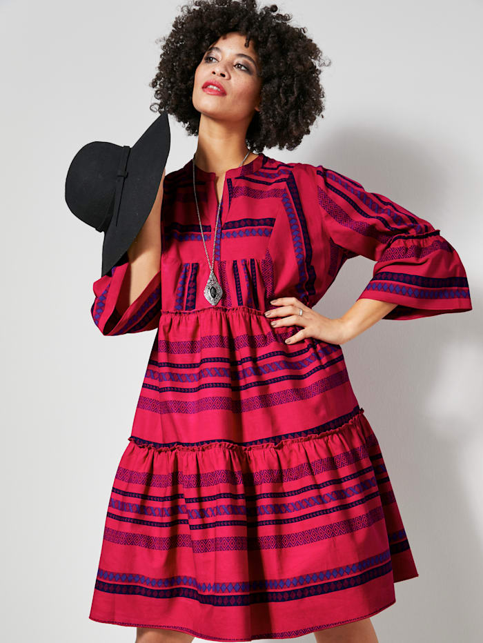 Angel of Style Kleid mit Volants, Rot/Lila/Schwarz