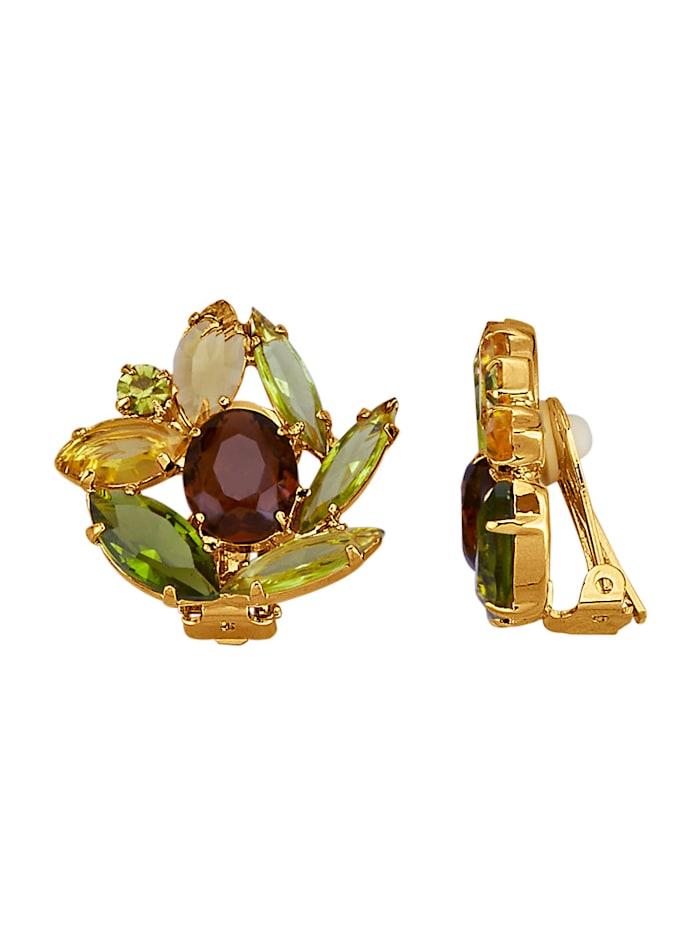 Golden Style Clipsörhängen med kristaller, Gul