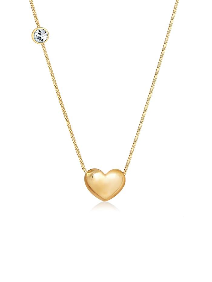 Elli Halskette Herz Solitär Swarovski® Kristalle 925 Silber, Gold