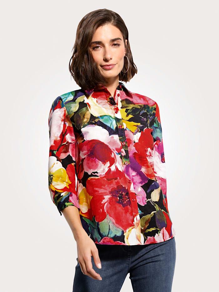 MONA Bluse aus Leinen-Baumwoll Qualität, Rot/Grün/Gelb