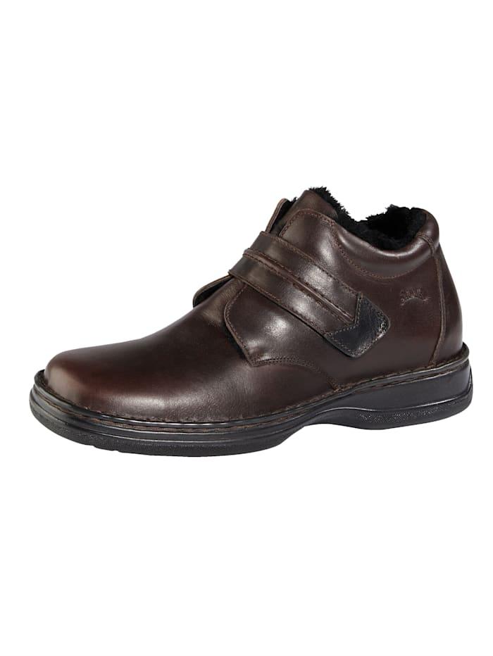 Klittenbandschoen met voering en binnenzool van lamsvacht, Bruin