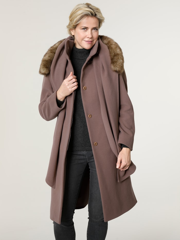 MONA Wool-blend coat with scarf, Light Brown