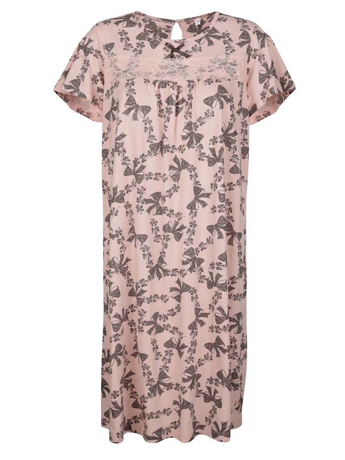 Simone Nachthemd met satijnen strikje en kant, Roze/Grijs