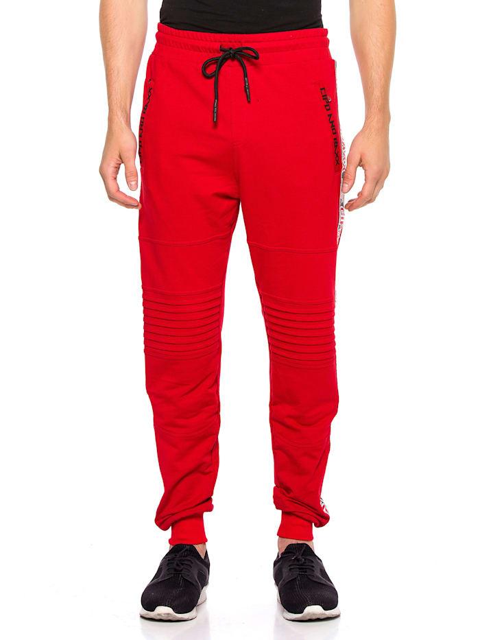 Cipo & Baxx Sweathose mit seitlichem Streifen, Rot