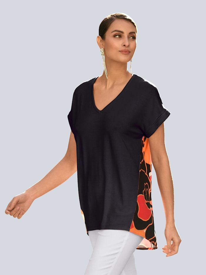 Alba Moda Shirt mit Alba Moda exklusivem Dessin, Schwarz/Orange