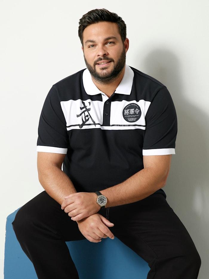 Men Plus Poloshirt Spezialschnitt, Schwarz/Weiß