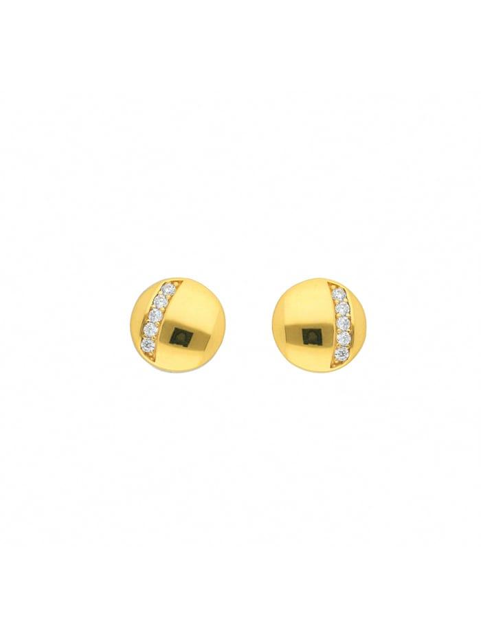 1001 Diamonds Damen Goldschmuck 585 Gold Ohrringe / Ohrstecker mit Zirkonia Ø 8,6 mm, gold