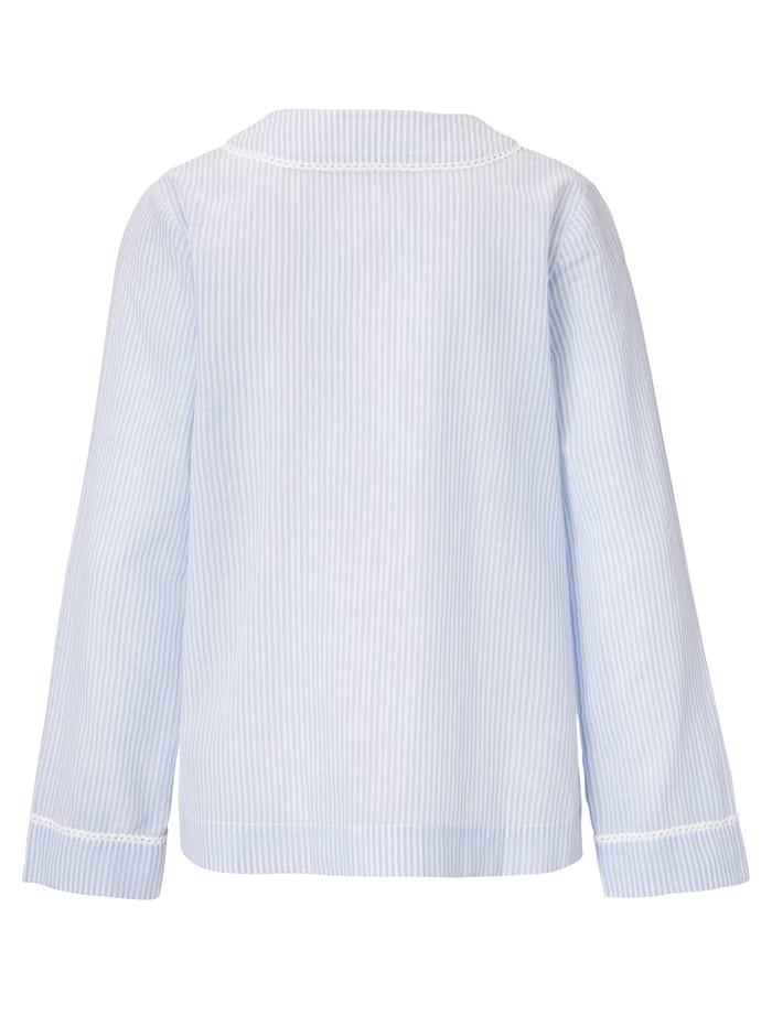 Pyjama-Bluse mit feinem Strukturstreifen
