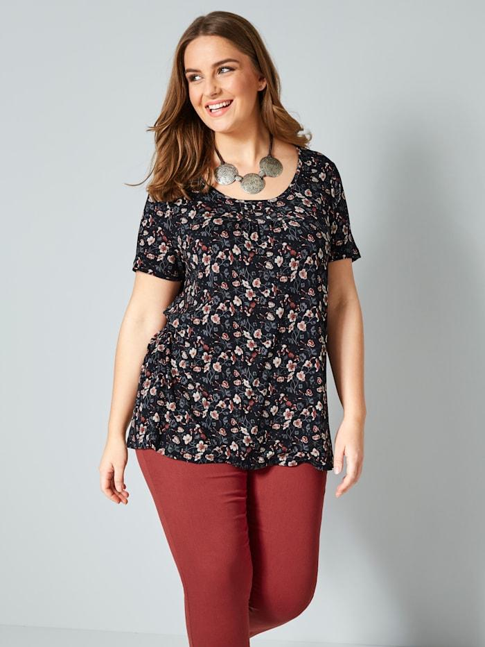 Janet & Joyce Shirt mit floralem Druck, Schwarz/Ziegelrot
