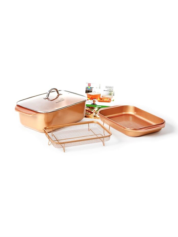 MediaShop Livington 14i1 matlagingsvidunder -Cooperline WonderCooker Basic - dobbel stekeform inkl. glasslokk - Copper Crisper grillkurv, Oransje