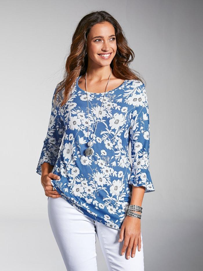 MIAMODA Shirt aus weich fließendem Viskosematerial, Blau/Weiß