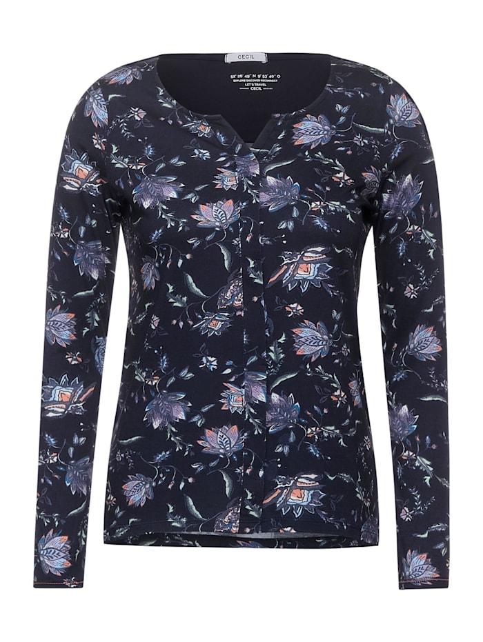Cecil Shirt mit Flower-Print, deep blue