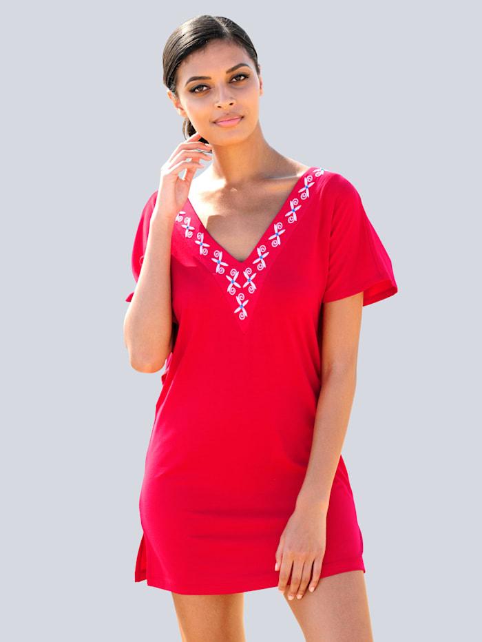 Alba Moda Strandshirt mit Stickerei, Rot