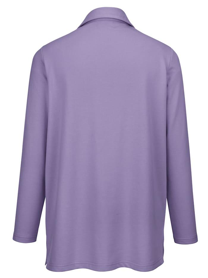 Sweatshirt mit Polokragen und kleinem V-Auschnitt