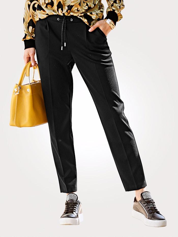 MONA Jogpant 7/8 à plis permanents, Noir