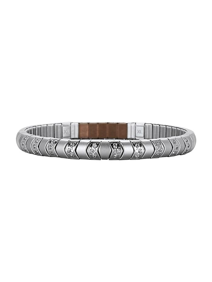 Magnetic Balance Edelstahl-Armband mit Zirkonia, Silberfarben