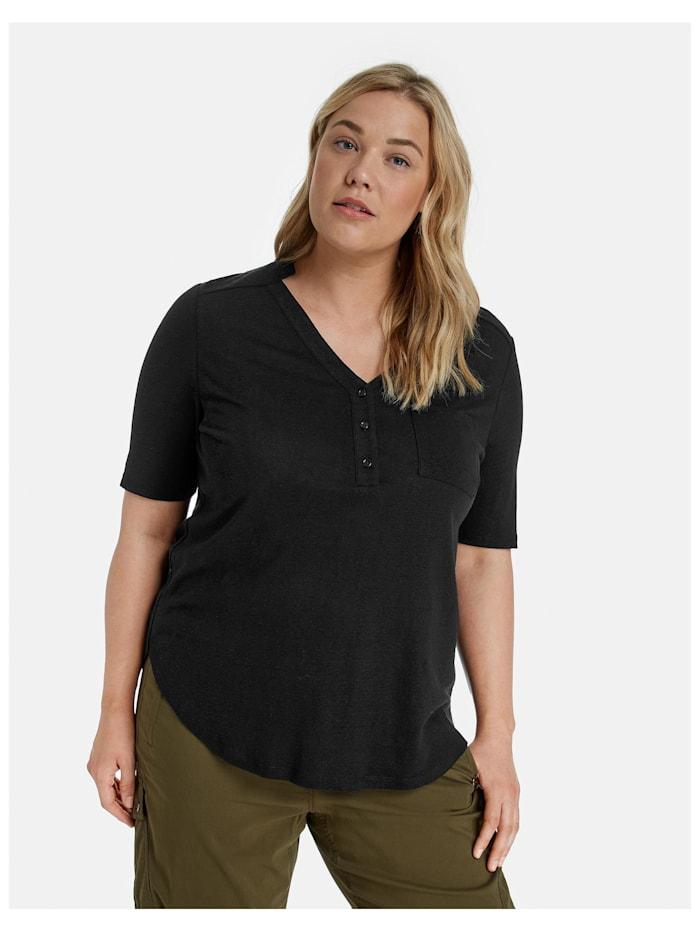 Samoon 1/2 Arm Shirt aus Leinen-Mix, Black