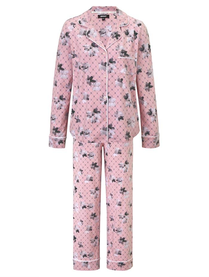 DKNY Pyjama mit Blütenprint, Rosé
