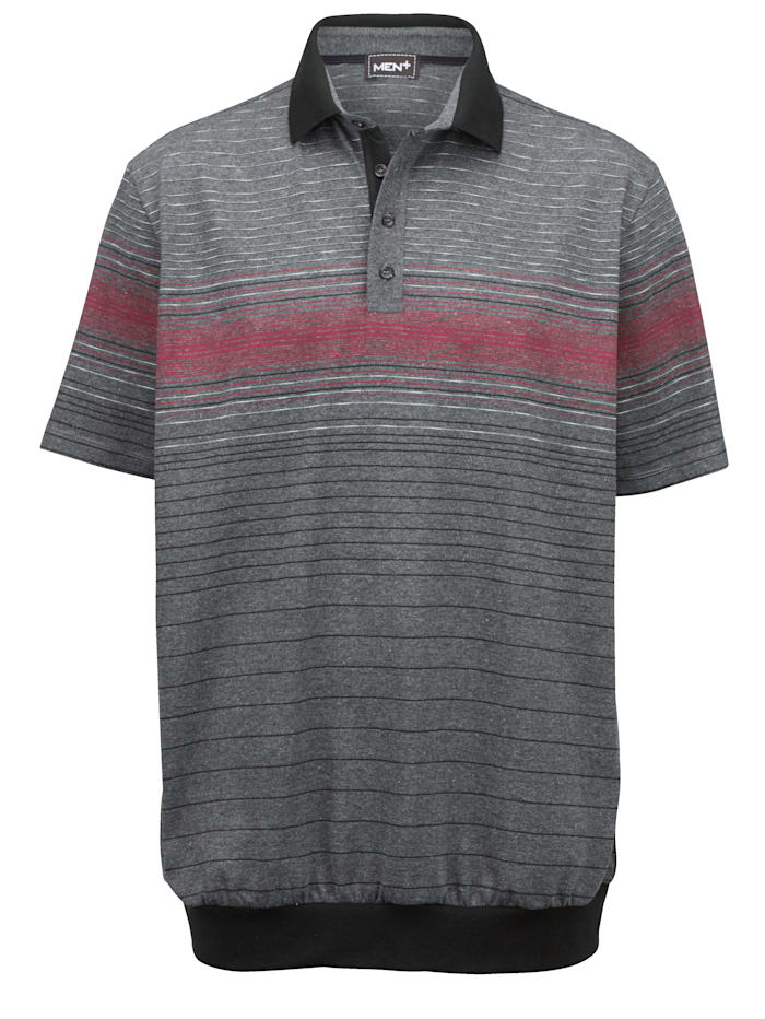Men Plus Poloshirt Spezialschnitt, Grau/Bordeaux