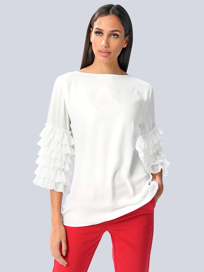 Alba Moda Bluse mit Volantärmeln, Weiß