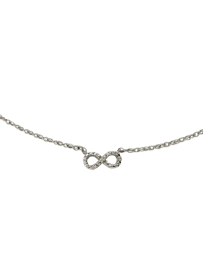 Celesta Collier 925/- Sterling Silber Diamant weiß Diamant 45cm Glänzend 0,007, Silbergrau