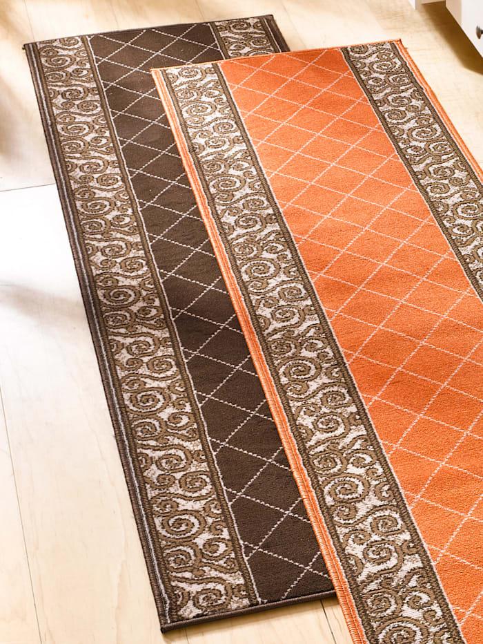 Webschatz Tapis de couloir et tapis pour marches d'escalier tissé Uwe, Marron