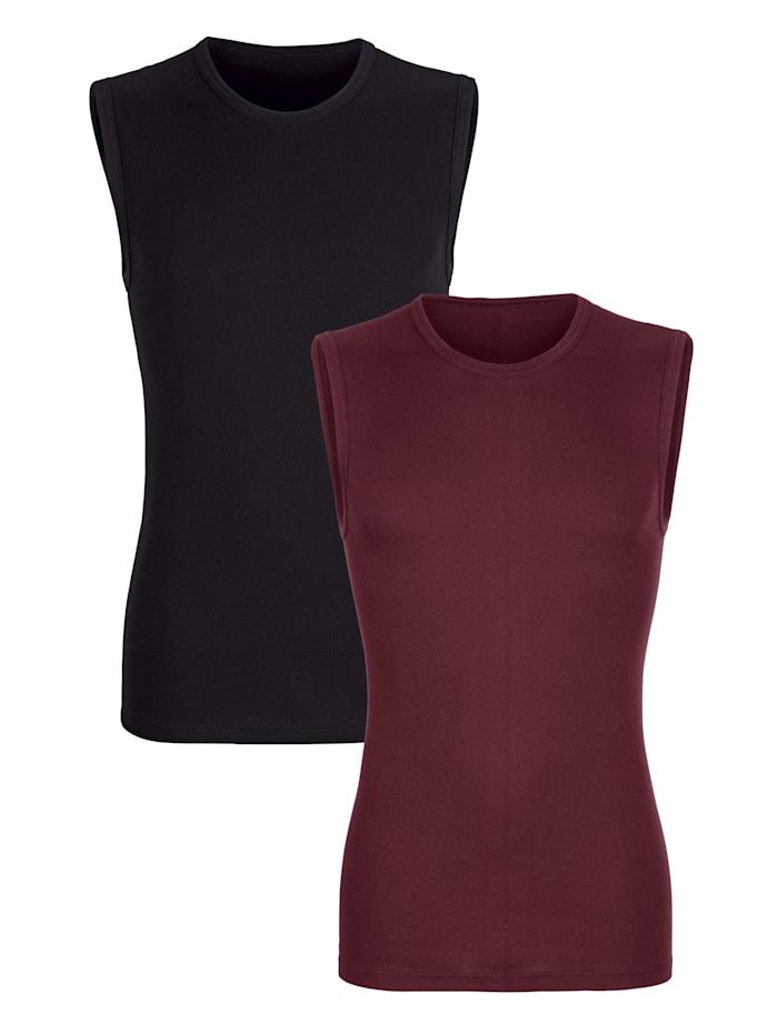 Mouwloze shirts per 2 stuks, Robijnrood/Zwart
