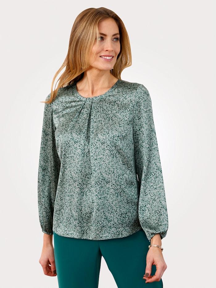 MONA Bluse mit grafischem Muster, Petrol/Mintgrün