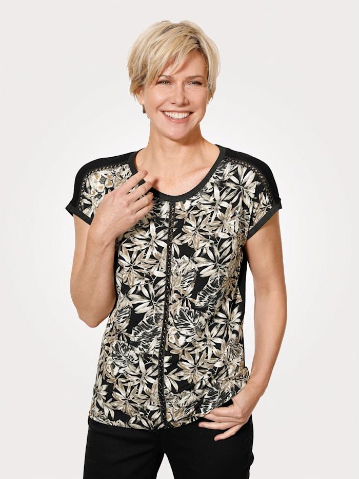 MONA Shirt mit Zier- Flechtbändern, Schwarz/Sand