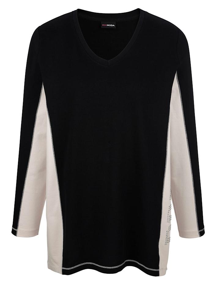 MIAMODA Sweatshirt med nitar, Svart/Beige