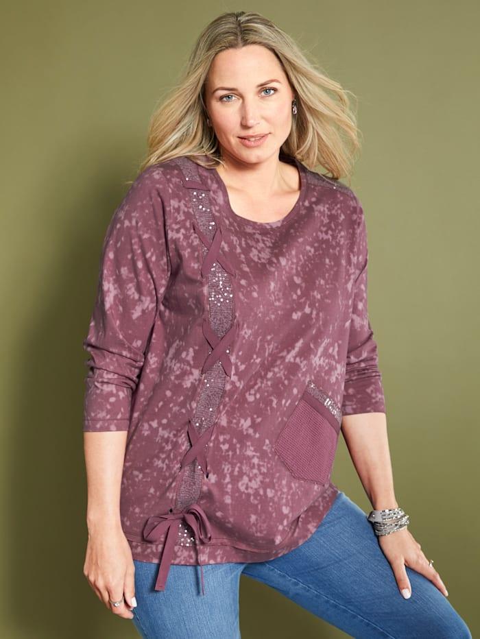MIAMODA Sweatshirt mit Pailletten und Schnürungsdetails, Mauve