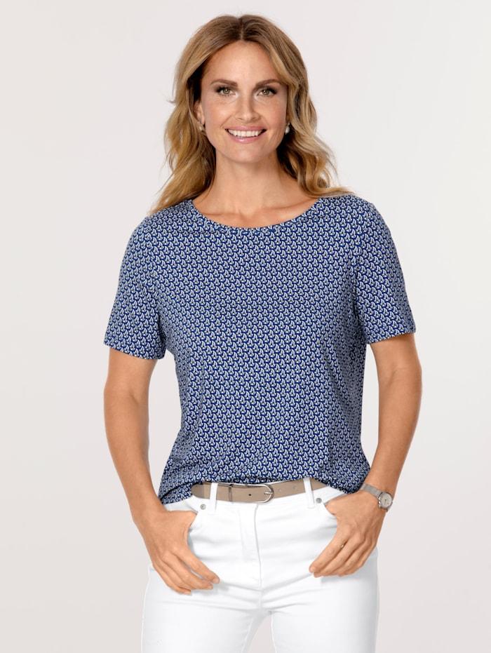 MONA T-shirt à motif minimaliste, Bleu/Écru