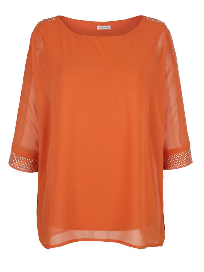 Alba Moda Bluse mit Schmuckperlechen gearbeitet, Orange