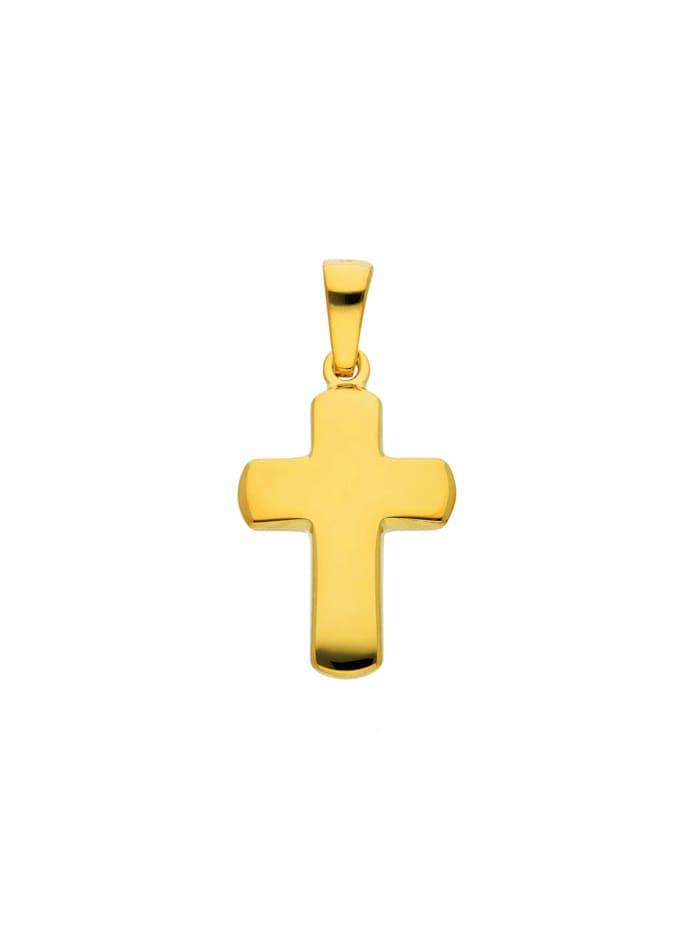 1001 Diamonds Damen & Herren Silberschmuck 925 Silber Kreuz Anhänger, vergoldet