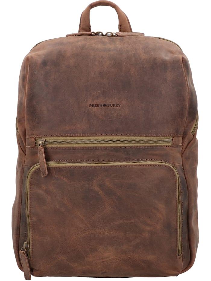 Greenburry Vintage Tec Rucksack Leder 39 cm Laptopfach, brown