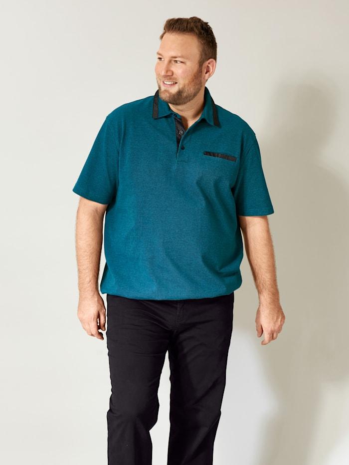 Men Plus Poloshirt Spezialschnitt, Petrol/Schwarz