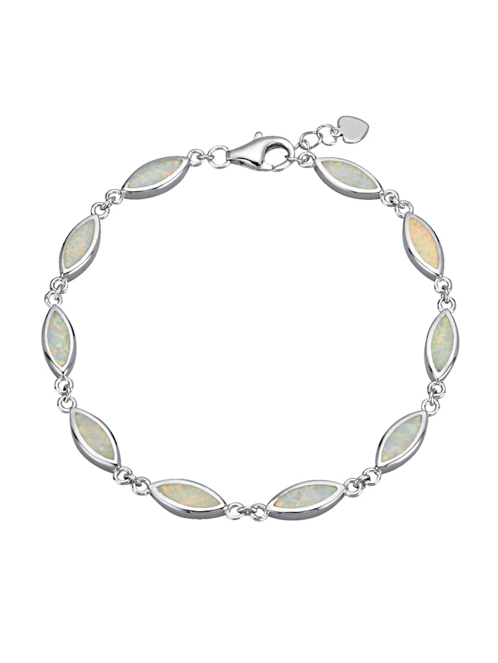 Armbånd med synt. opaler, Hvit