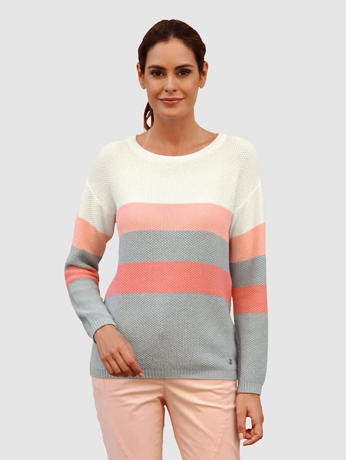 Laura Kent Pull-over à rayures bloc tendance, Blanc/Abricot/Gris