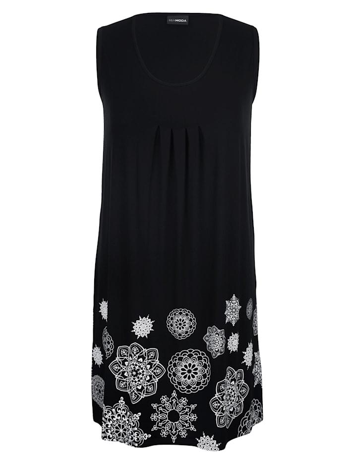 MIAMODA Kleid mit Falten im Vorderteil, Schwarz/Weiß