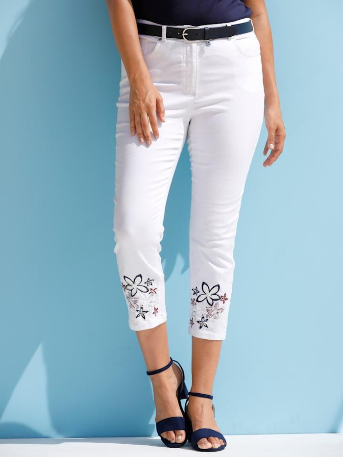 MIAMODA Hose mit Blumenstickerei und Pailletten, Weiß