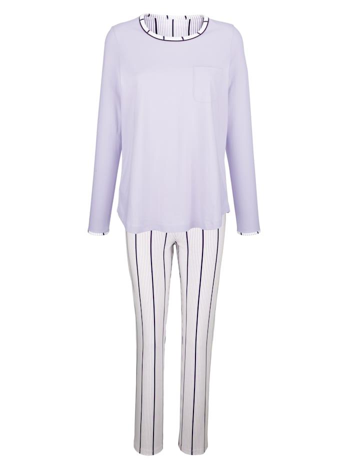 Blue Moon Schlafanzug aus Organic Cotton, Flieder/Ecru/Lila