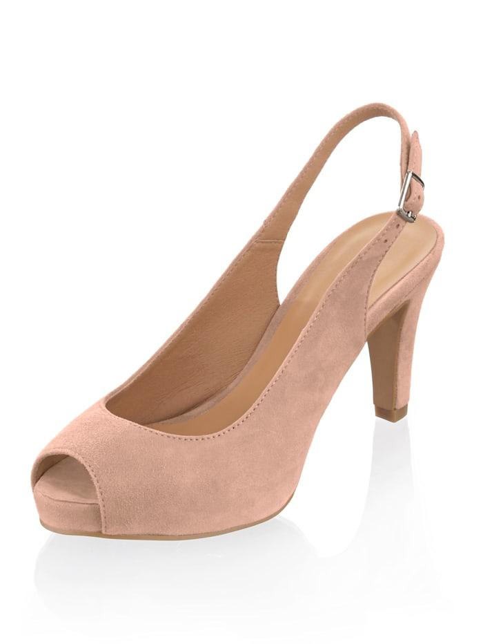 Alba Moda Sandalette aus Ziegenveloursleder, Nude