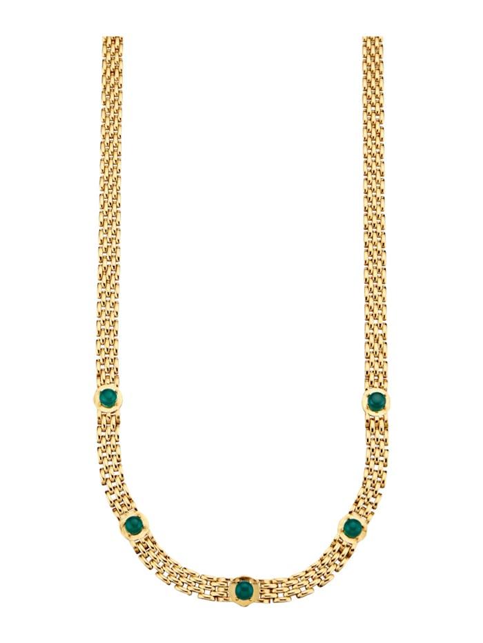 Diemer Farbstein Halsband med smaragder, Grön