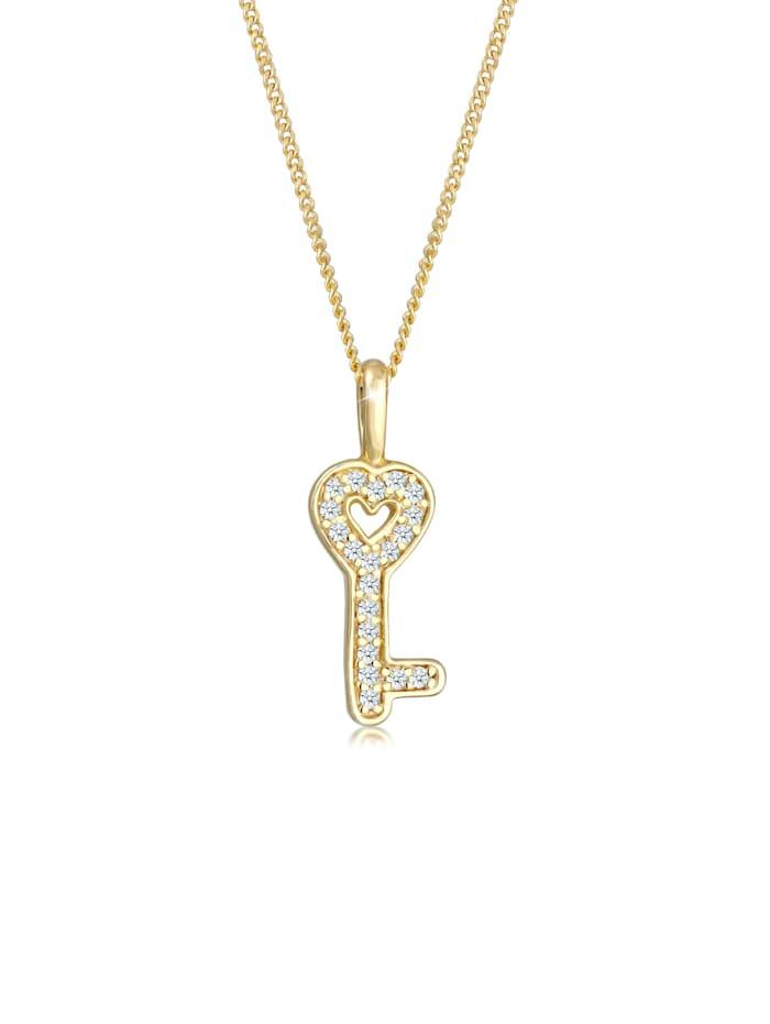 DIAMORE Halskette Schlüssel Elegant Diamant (0.1 Ct.) 585 Gelbgold, Gold