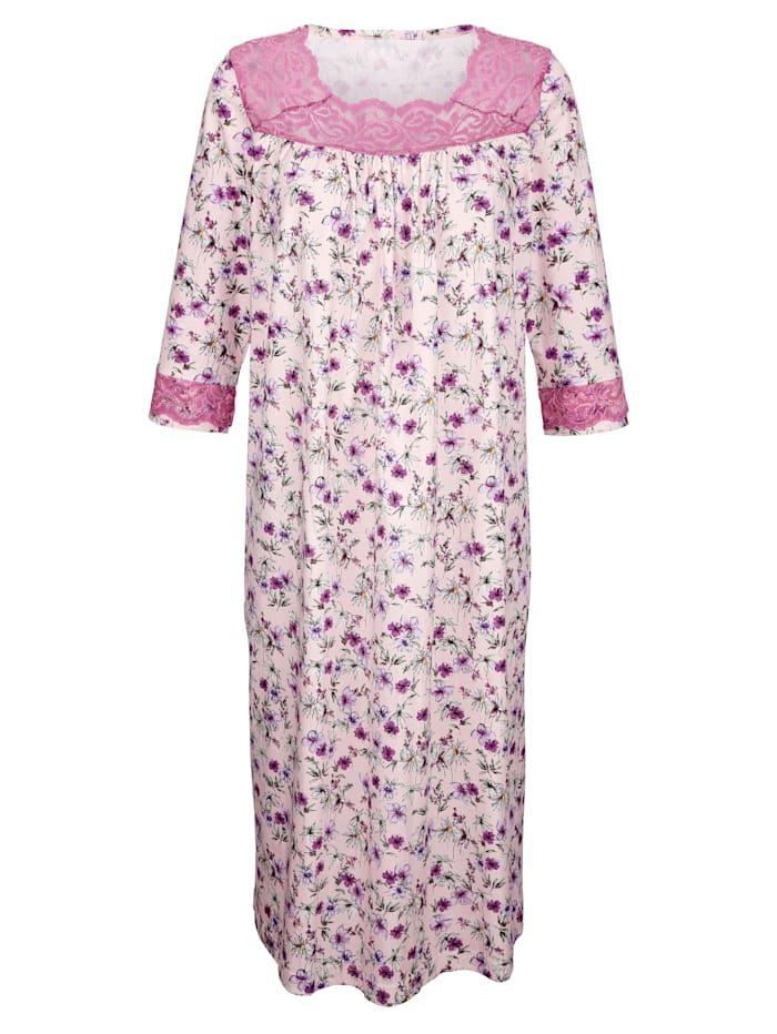 Harmony Nachthemd met romantisch kant, Roze/Fuchsia/Lindegroen