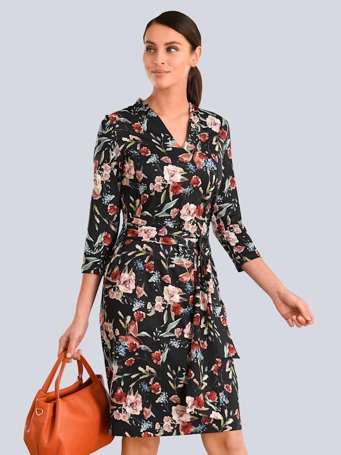 Alba Moda Kleid mit femininen Raffungen, Schwarz/Orange/Beige
